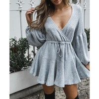 Autumn Winter Sweet Fashion Women Ladies Dress Long Lantern Sleeve Solid V-Neck Elastic Waist A-Line Mini Dress