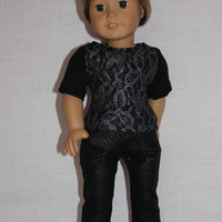 18 inch doll clothes,black t-shirt with silver lace overlay, black animal print denim skinny jeans, american girl ,maplelea