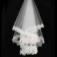 Laciness bridal long veil wedding dress veil paillette lace white formal dress accessories 1.5 meters = 1933016004
