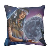Native American Maiden with moon and Wolf Throw Pillow