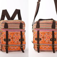 Stylish Convertible Bag Backpack Purse Rucksack Messenger Bag Embroidered Hand Stitched
