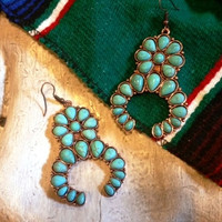 Turquoise Color Squash Blossom Earrings
