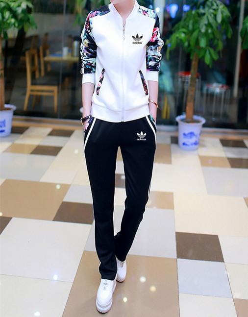 """Image of """"Adidas"""" Women Casual Multicolor Flower Print Stripe Long Sleeve Zip Cardigan Baseball Clothes Trousers Set Two-Piece Sportswear"""