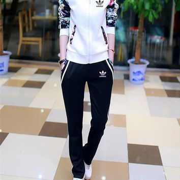 """Adidas"" Women Casual Multicolor Flower Print Stripe Long Sleeve Zip Cardigan Baseball Clothes Trousers Set Two-Piece Sportswear"