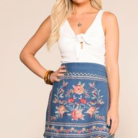 Ginger Embroidered Denim Mini Skirt