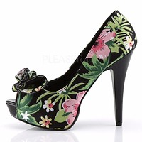 Lolita 11 Black Tropical Floral Print Fabric Peep toe Platform Pumps
