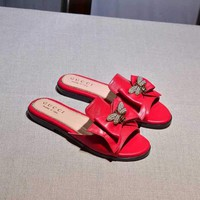 Gucci Butterfly Red Casual Fashion Women Sandal Slipper Shoes