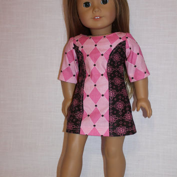 18 inch doll clothes, Ascot dress,pink and brown dress,floral and diamond print dress,  american girl, Maplelea