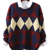 Diamond Patterns Fine Knit Loose Sweater