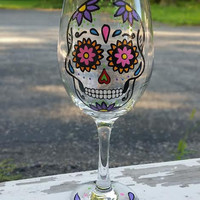 SUGAR SKULL hand-painted wine glass WITH STEM (DARK PURPLE FLOWERS)