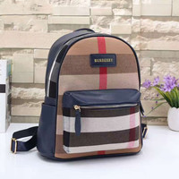 BURBERRY Women Shopping Leather Metal old plaid Backpack  Blue