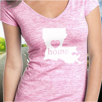 Louisiana Home T-Shirt - V-Neck - State Pride - Home Tee - Clothing - Womens - Ladies