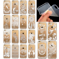 Phone Cases Cover for iPhone 6Plus 6 6s Plus Ultra Slim Soft TPU Flower Painted Clear Phone Back Case for iphone 6s plus