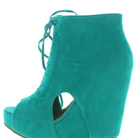 CAMILLA2 TEAL CUT OUT LACE UP WEDGE HEEL