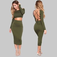 2 Piece Set Cotton dress Women Bodycon Dress Plus Size Sexy Backless Party Dress