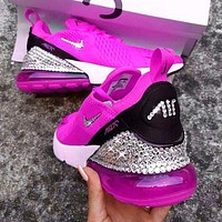 Air Max 270 Nike Fashion Women Semi-Cushioned Jogging Shoes Running Sneakers Rose Red