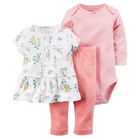Carter's Floral & Striped Top & Pants Set - Baby Girl, Size: