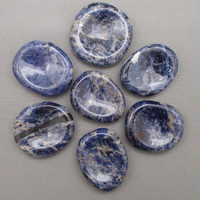 Blue Sodalite Worry Stone - Healing Crystals & Stones, Palm Stone, Good Luck Amulet, Throat Chakra, Reiki Healing, Pocket Crystal (T078)