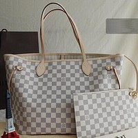 Louis Vuitton LV Women Leather Shoulder Bag Satchel Tote Handbag Crossbody Two Piece Set