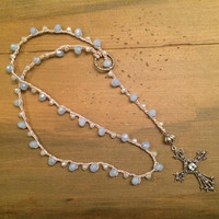 Cross Lariat, Lariat, Marcasite Cross, Cross Necklace, Pale Blue Faceted Glass, Silver Cross, Crochet Necklace, Blue Cross Necklace, Boho
