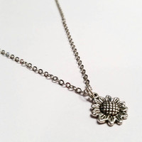 """Dainty sunflower flower charm necklace on 19"""" silver chain with easy open close toggle clasp"""