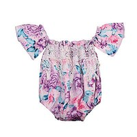 Floral Toddler Baby Girls Kids Off Shoulder Ruffle Lace Romper Shorts Summer Sun-suit Outfits