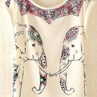 Cute Elephants Print Shirt with Flora Details LCIB731 from topsales