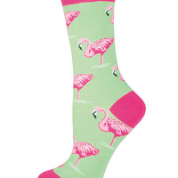 Womens Flamingo Print Crew Length Socks