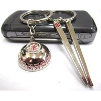 Couple Love Keychain Key Ring Bowl and Chopsticks
