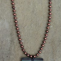 Short Copper Ball Chain Necklace with Serape and Cactus Charms