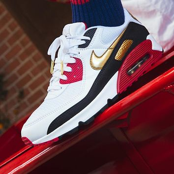 Nike Air Max 90 Popular Women Men Casual Running Sport Sneakers Shoes White&Red&Golden
