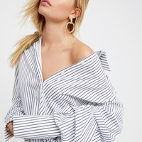 Free People Stripe Off-The-Shoulder Top