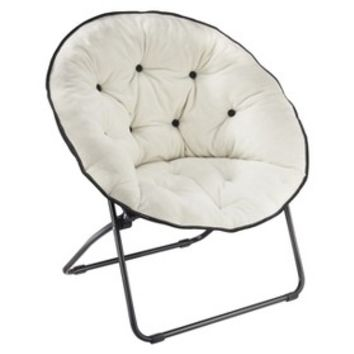 Fleece Round Chair with Buttons Ivory