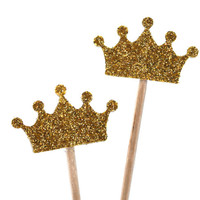 Golden crown, 10 pieces, glitter, Party Picks, Cupcake Topper, Tiara, Baby Shower Decoration, Birthday Pick, duchess of cambridge, queen