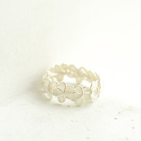 Snow White Forget Me Not Ring in Sterling Silver, Wedding Anniversary Artisan Jewelry....