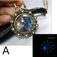 Glow In The Dark Necklace - Glowing Space Pendant - Cosmos Necklace - Starry Night Starry Sky Necklace