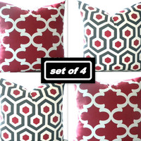 Set of 4 Red Trellis print pillow covers and  red geometric pillow cover, many sizes available