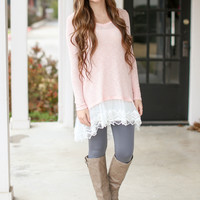 Paris in Springtime Sweater with Lace - Light Pink