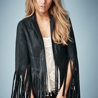 Kate Moss for Topshop Fringed Leather Jacket