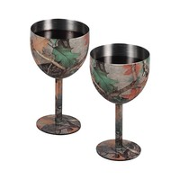River's Edge Wine Glass Set - Camo Stainless