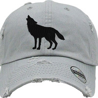 HOWLING WOLF Distressed Baseball Hat
