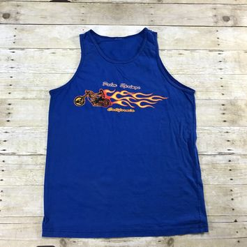 Vintage 1980s Palm Springs Motorcycle Flame Print Blue Tank Top Mens Size Large