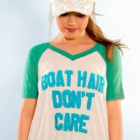 "Judith March Flowy Raglan Short Sleeve Top W/ ""Boat Hair Don't Care"" N"