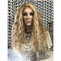 Light Blond Human Hair Blend Multi Parting Wavy Messy Lace Front Wig - Sydney