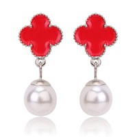 Beady Cleef Single Clover with Pearl - Silver & Red