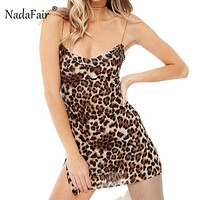 FSDA Luipaard Print Jurk Backless Vrouwen Spaghetti Strap Side Slit Sexy Beach Mini Jurken Club