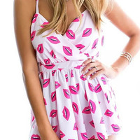 Hot Pink Lips Print Strappy Pleated Rompers