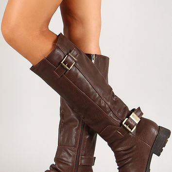 Double Buckle Round Toe Knee High Riding Boot