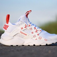 Tagre™  Nike Air Huarache LV 819685-108 men/women running shoes color white&red