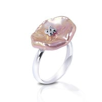 Imperial Pearl:  20mm Pink Keshi Pearl Ring in Sterling Silver - Size 7